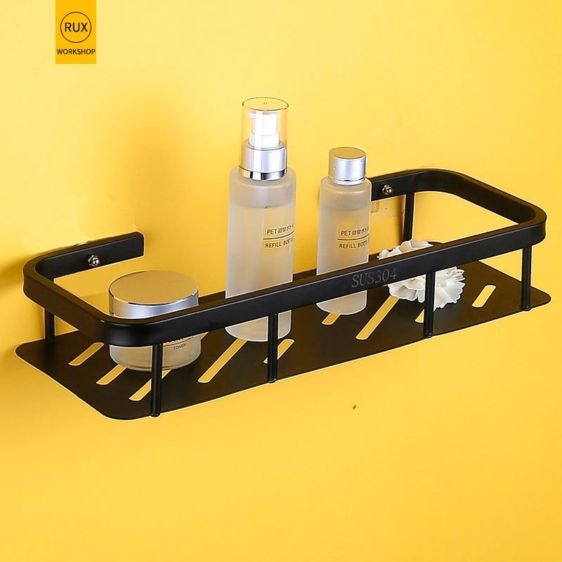 bathroom Shelf black 304 stainless steel Shampoo Soap Cosmetic Shelves Bathroom Accessories Storage Organizer Rack Holder in Bathroom Shelves from Home Improvement