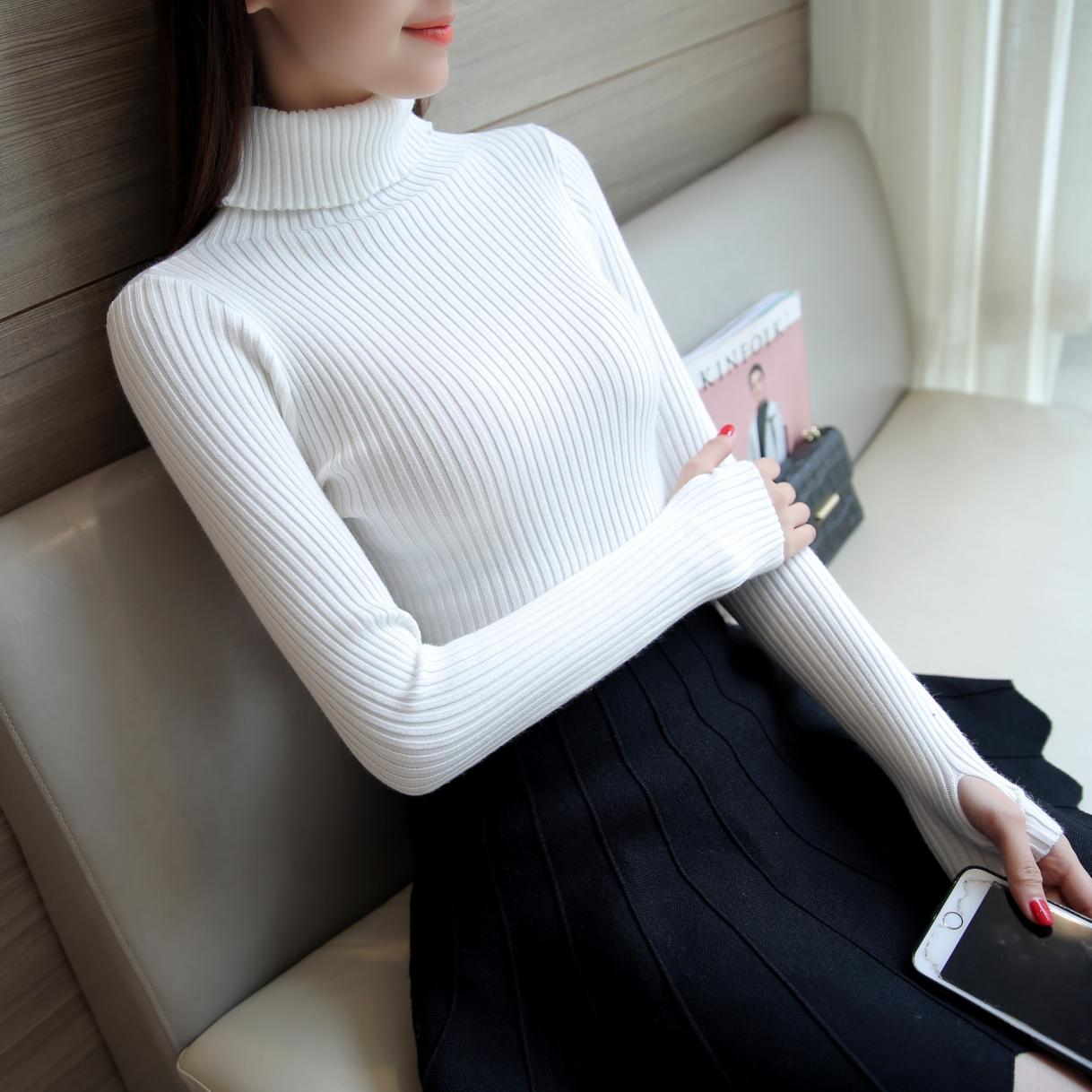 turtle neck  Women Sweater Pullover Basic Rib Knitted Cotton Tops Essential Jumper Long Sleeve Sweaters Autumn Winter 2017