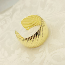 12PCS round opening napkin buckle metal plating ring towel