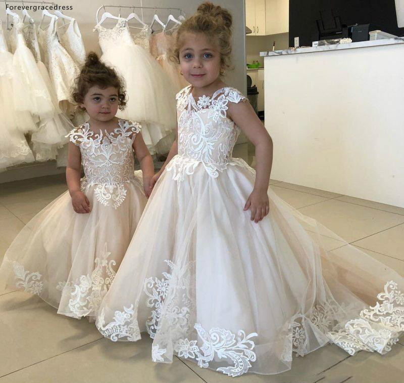 2019 Lovely Tulle   Flower     Girls     Dresses   Dubai Style Daughter Toddler Kids Pageant Formal First Holy Communion Gown