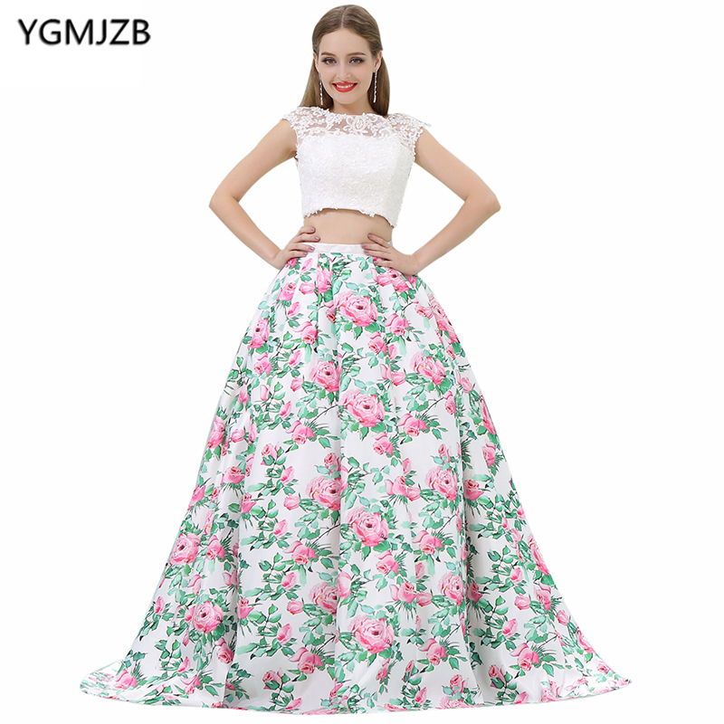 New Arrival Floral Print   Evening     Dresses   2018 A-Line Scoop Cap Sleeve Two Piece Prom   Dress   Lace   Evening   Gown Vestido De Festa