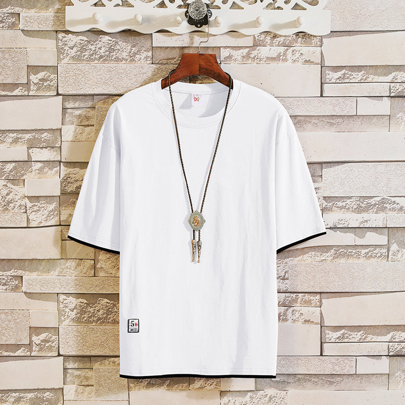 2019 New trend short-sleeved t-shirts in summer men's round-collar fake two half-sleeved shirts Korean version leisure MP94 3