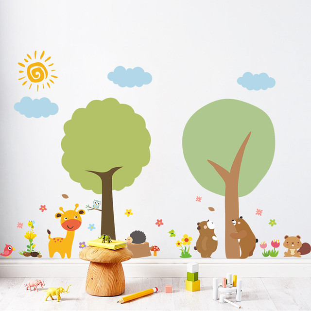 Forest Animal Flower Cartoon Sun Tree Wall Stickers For Kids Rooms Nursery Rustic Home Decor DIY