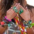 EManco colorido do grânulo pulseira elástica étnica borla pedra frisada handmade pulseiras 2016 nova chegada jogo mix brazaletes mujer