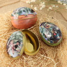 1 PCS Easter Egg Painted Eggshel Tin Boxes Pills Case Wedding Candy Can