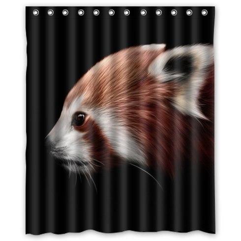 Custom Special Design funny cute red panda Bathroom Waterproof Polyester Fabric Shower Curtain 60 x 72
