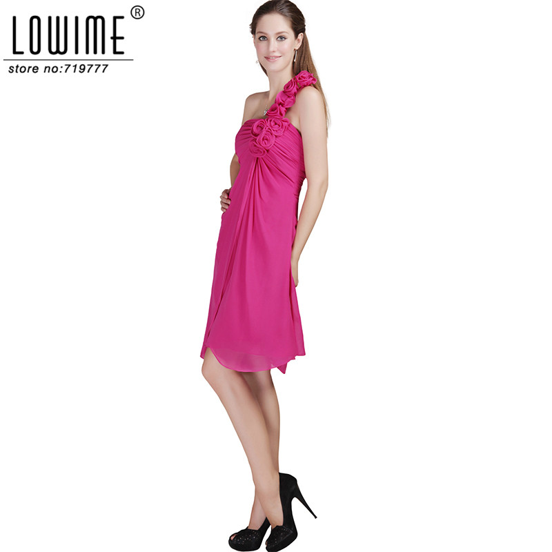 Deep Pink One Shoulder Bridesmaid Dresses Real Picture Marsala Cheap ...