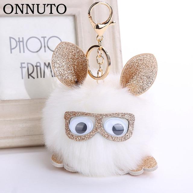 Adorável Coruja Faux Pele De Coelho Bola Pompom Keychain Para As Mulheres Fluffy Animal Pingente de Chave Anéis Saco Chave Titular Ornamentos Presentes