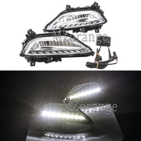 2PCS 7.2W Daytime Running Lights For Hyundai Elite I20 2015 Waterproof LED System DRL Car styling Fog Lamp Cover Driving Lights