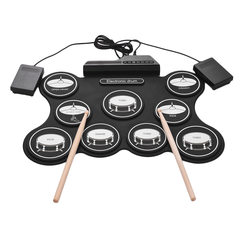 Digital Roll Up Drum Kit USB Electronic Drum Set 9 Silicon Drum Pads with Drumsticks Foot