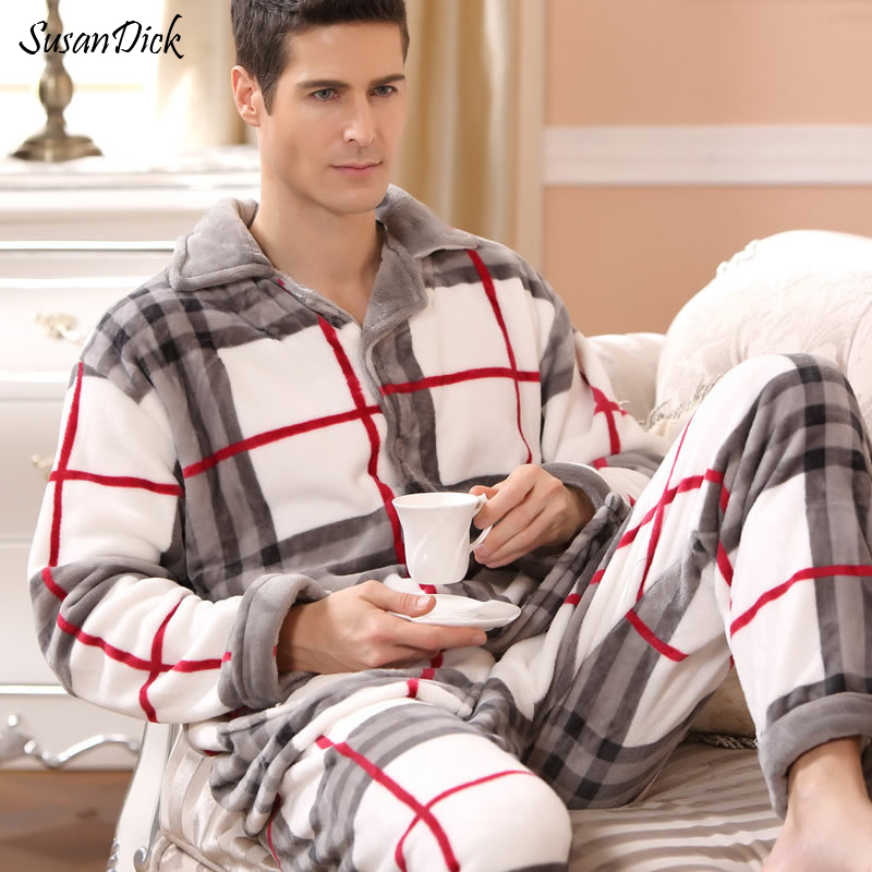 SusanDick 2019 New Winter Pajamas Men Thick Fleece Pajama Sets Luxury Warm Sleepwear Plaid Suits Man Casual Home Clothes Pijama