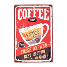 Coffee Retro Embossed Metal Tin Signs Bar Shop Cafe Decorative Plate Fresh Brewed Wall Stickers Advertising Iron Poster 30*20cm