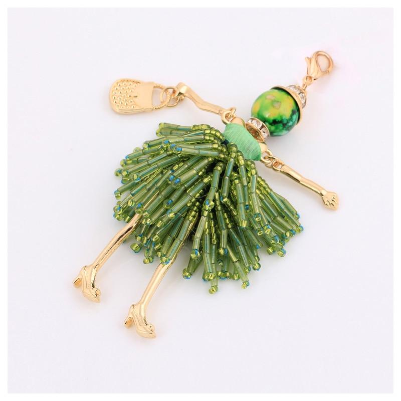 novi dolazak zeleni kristal privjesak za žene tassel ključ prsten - Modni nakit - Foto 3