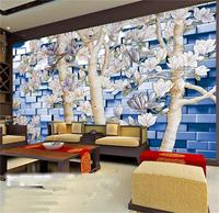 3d Wallpaper Photo Wallpaper Custom Mural Living Room Magnolia Flower Tree Brick Wall Painting Sofa TV