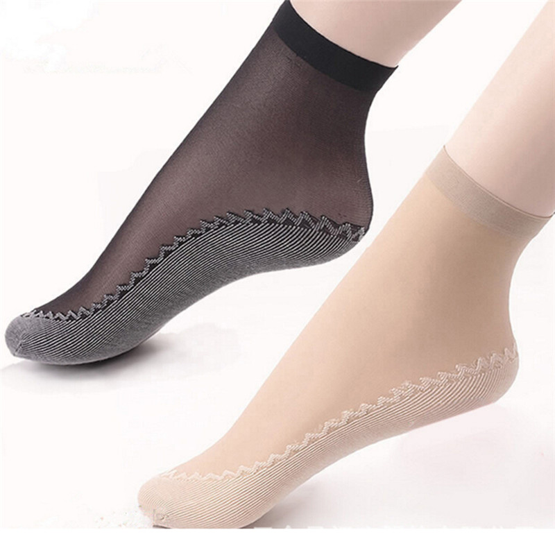 5Pair Women Socks Female Sock Summer Sexy Ultrathin Transparent Style Skin Color/Black Sock Thin Transparent Socks Elastic Short