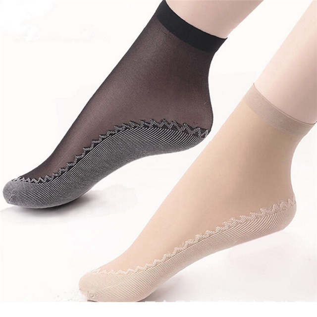 cbfc74c42 Online Shop 5Pair Women Socks Female Socks Summer Style Skin Color Black  Sock Thin Transparent Socks Elastic Short Wear-Resistant Bottom