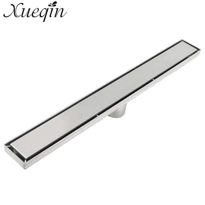 Xueqin 60cm Bathroom Floor Drain Waste Grate Shower Drainer Bath Shower Floor Drain Bathroom Accessories 304 Stainless Steel free shipping stainless steel bathroom floor drain shower floor drain triangle shape grate waste drain dr089