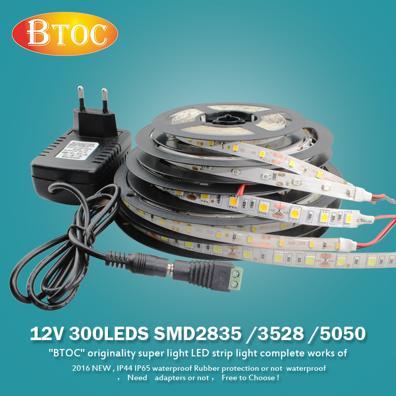 New 5M 12V 3528 5050 300LED Flexible Strip Light Warm White Tape Waterproof USA