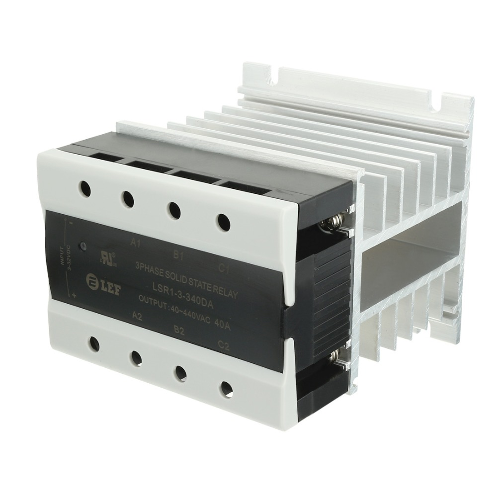 New Arrival High Quality DC to AC 40A 3-32VDC to 40-440VAC SSR Thermal Compound 3 Phase Solid State Relay + Heat Sink
