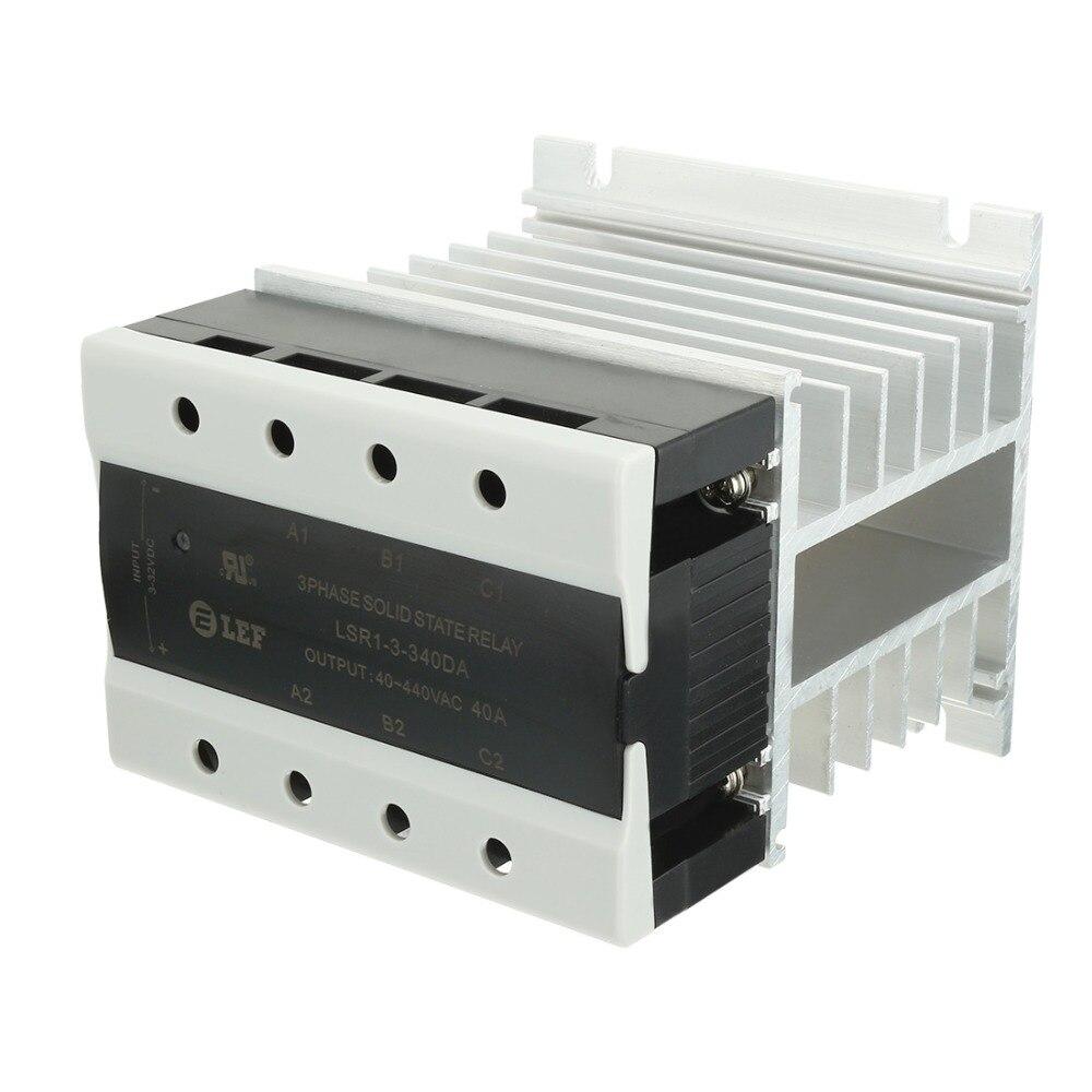 Nouveauté haute qualité DC à AC 40A 3-32VDC à 40-440VAC SSR composé thermique relais à semi-conducteurs 3 phases + dissipateur de chaleur