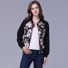 2018 Women Jacket Brand Tops Flower Print Girl Casual baseball Sweatshirt Zippers Thin Bomber Long Sleeves Coat Jackets
