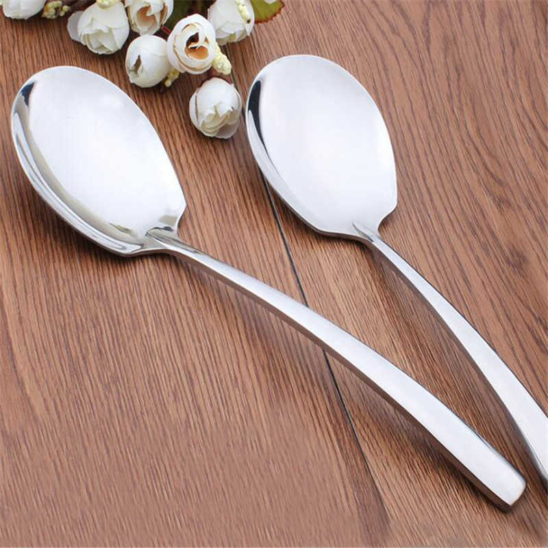 Large Buffet Serving Spoon Stainless Steel Dinner Spoon Thickness Round Soup Rice Coffee Western Restaurant Bar Public Scoop