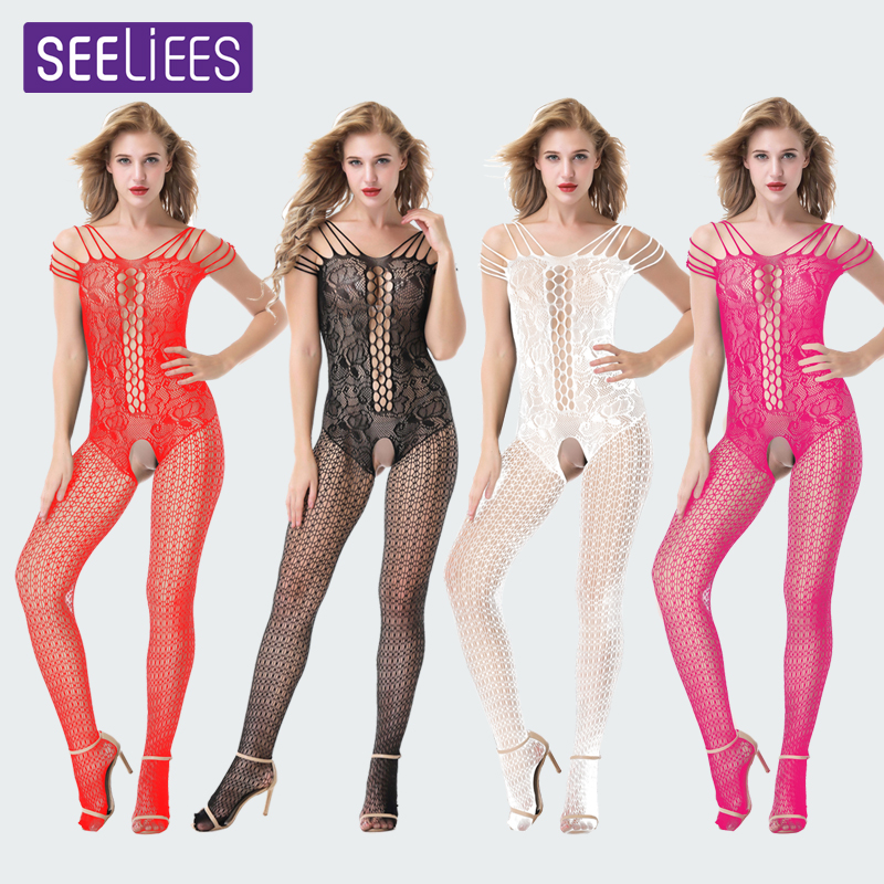 Buy SEELIEES Sheer Bodysuit Thong Babydoll Bodysuit Open Crotch Female Body Stocking Sexy Lingerie Erotic Porn Sex Wear Catsuit SC26