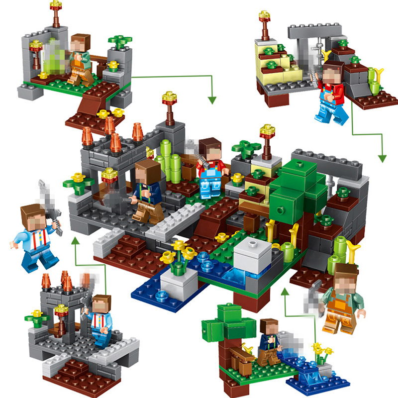 Minecrafted Toys 4 Type Town Group Building Blocks Figures Bricks Educational Toys For Kids Compatible Legoing Minecraft City 1