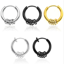 New Fashion Style Round Punk High Quality Stud Earrings For Women Men Stainless Steel Circle Ear Clip Fashion Jewelry