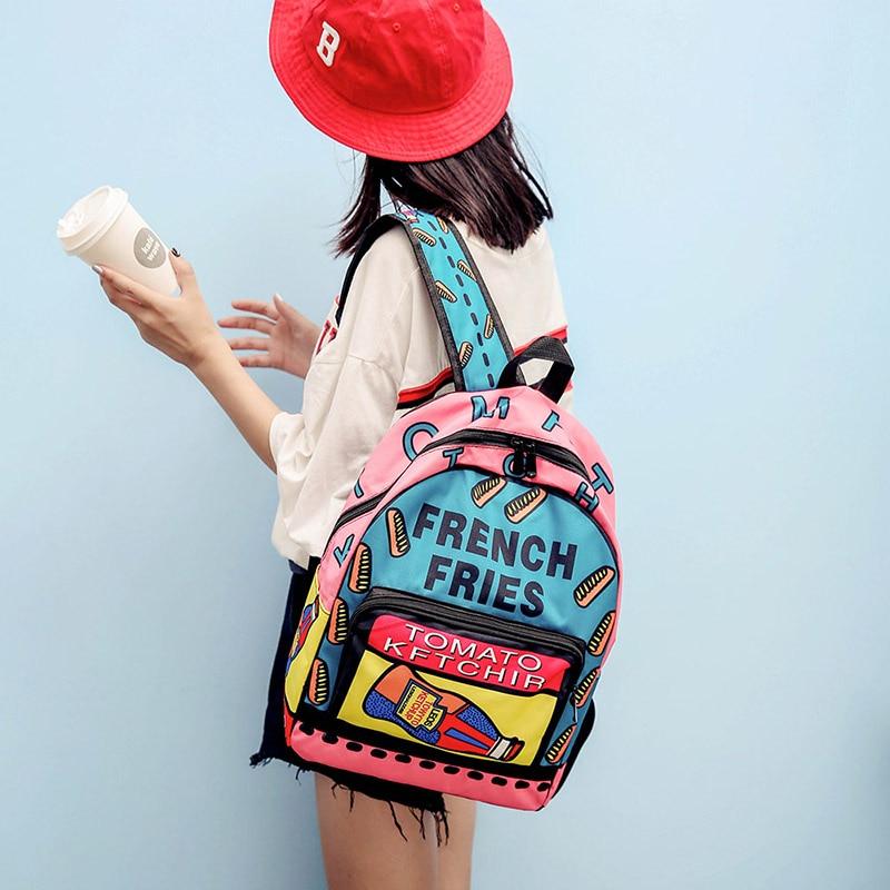 1408.96руб. 49% СКИДКА|Корейская женская сумка ulzzang, рюкзак с граффити, женские школьные сумки, холщовый рюкзак Harajuku для девочек, дорожная сумка mochila-in Рюкзаки from Багаж и сумки on AliExpress - 11.11_Double 11_Singles' Day - Все по плечу