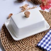 White Ceramic rectangular butter dish tableware