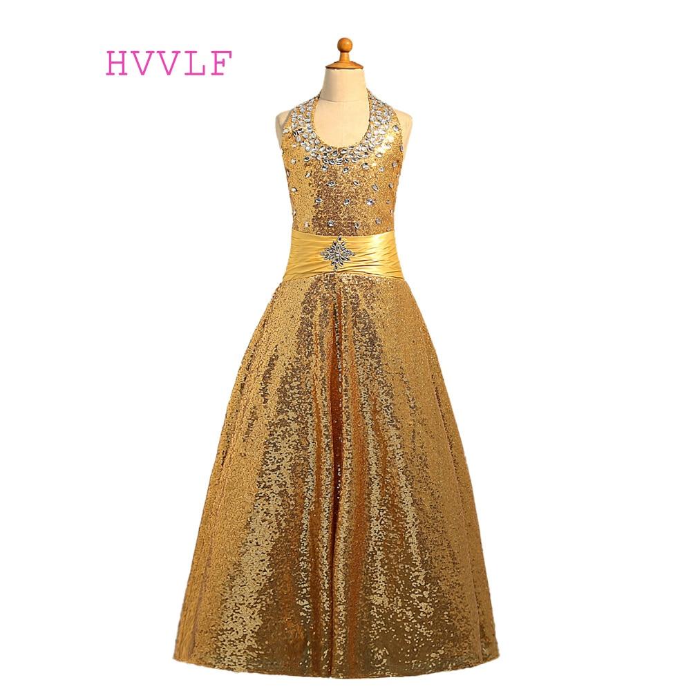Altın 2018 Kız Pageant Elbise Balo Halter Payetler Kristaller Sparkle Çiçek Kız Elbise Düğün İçin Küçük Kızlar Için