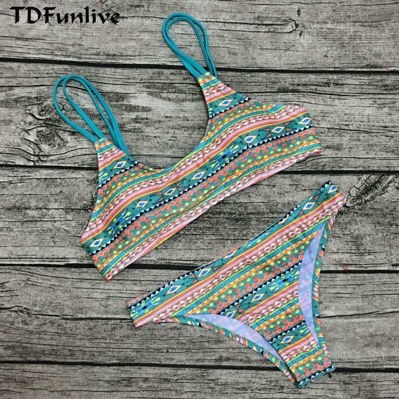 Atractivo 2017 Print Strappy Reversible Bikini Tdfunlive Mujeres v0Nnm8w