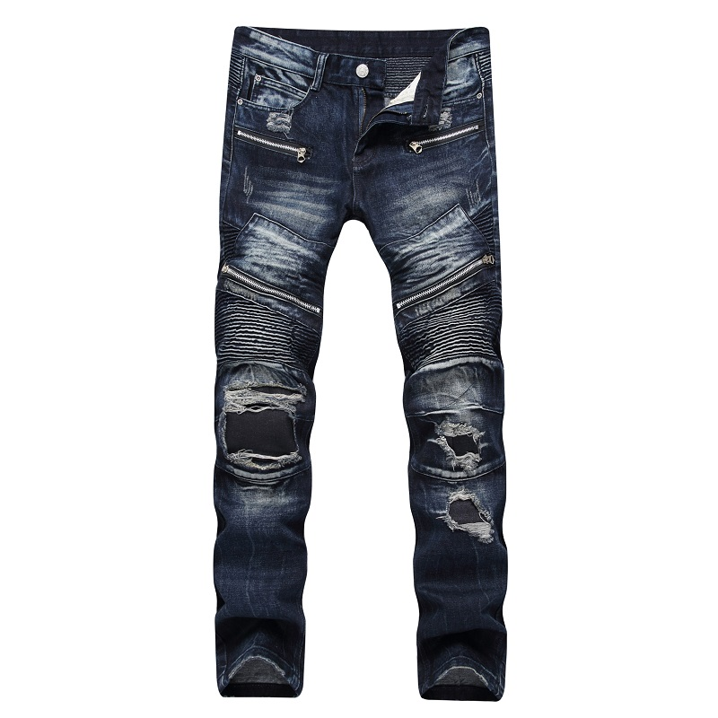 2017 Men Jeans Biker Pleated Mens Denim Ripped Jeans Hip Hop Straight Stretch Zipper Distressed Moto Slim Fit Pleated Punk Pants 2017 ripped straight jeans men slim fit zipper jeans men s hole denim fabric hip hop skinny cotton white blick pants casual mens