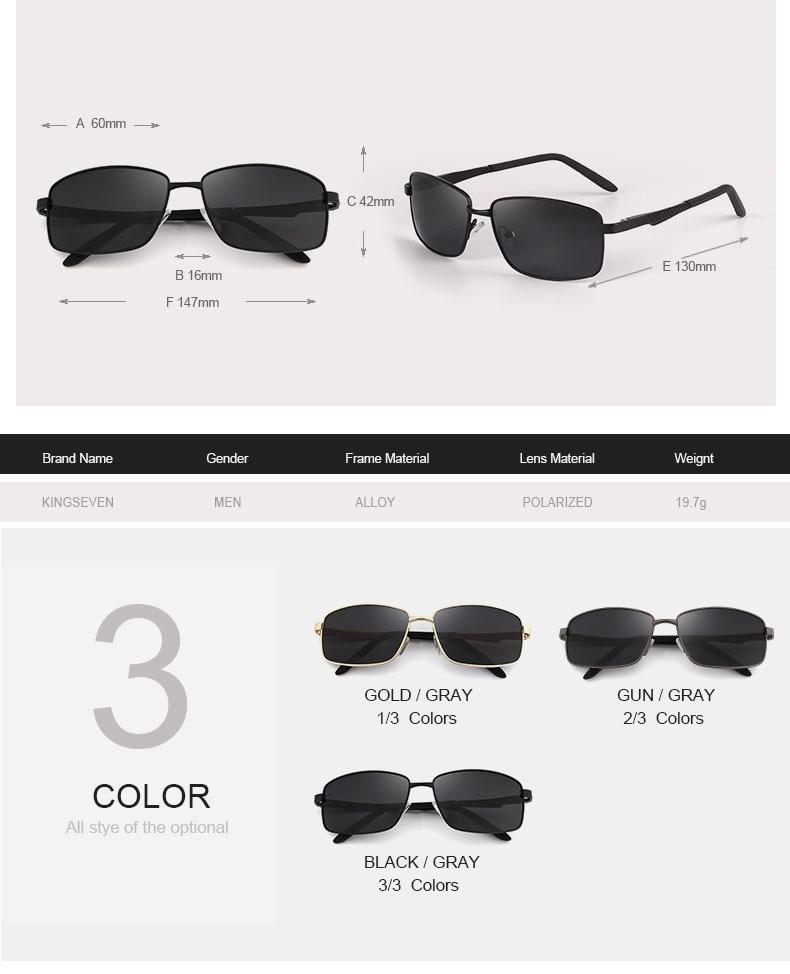 KINGSEVE Brand rectangular sunglasses male and female neutral sunglasses retro sunglasses with polarized lenses uv 400 2