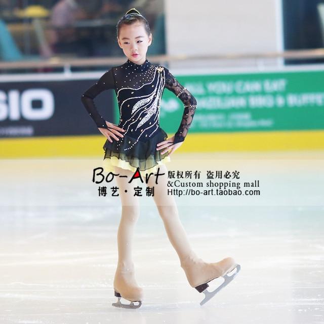 4331a77146 Meninas vestido de crianças negras competição de patinação no gelo vestidos  de patinação artística de gelo