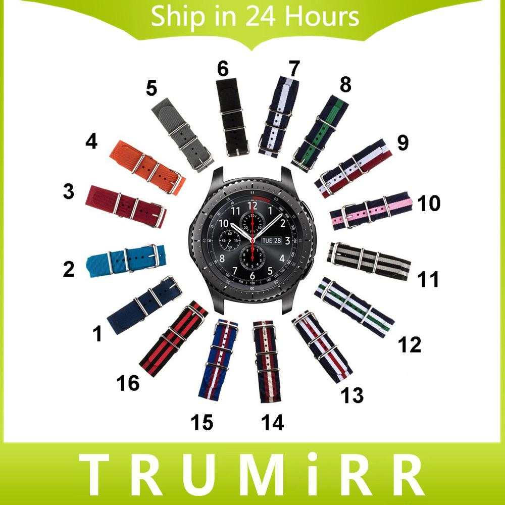 Prix pour 22mm Nylon Bracelet + Outil pour Samsung Gear S3 Classique frontière Bande de Montre OTAN Bracelet Tissu Poignet Ceinture Bracelet Multi couleurs