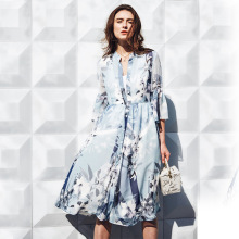 NELLBANG Vintage knee-length Dress Sexy Beach Dresses 2017 blue Floral Print three quarter sleeve High Quality Chiffon Dress
