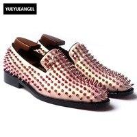 Ручной работы Заклепки Мокасины Для мужчин из натуральной кожи обувь для вечеринки, свадебные туфли в европейском и американском стиле ква