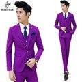 (Chaqueta + Pantalones) Trajes de boda para Hombres Terno de Corea Slim Fit Hombres Traje Esmoquin Novio Traje Homme Mariage Purple Mens Trajes de Baile