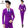 (Jacket + Pants) Wedding Suits for Men Terno Korean Slim Fit Suit Men Tuxedo Groom Costume Homme Mariage Purple Mens Prom Suits