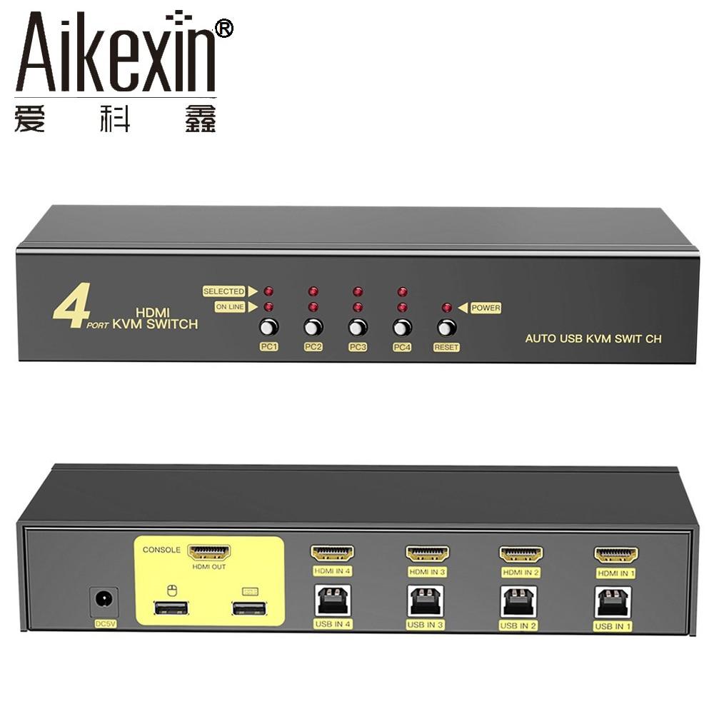 Aikexin USB2.0 kvm-переключатель 4 порта USB KVM HDMI коммутатор 4x1 HDMI коммутатора дополнительной USB2.0 Поддержка автоматического сканирования, клавиатуры...