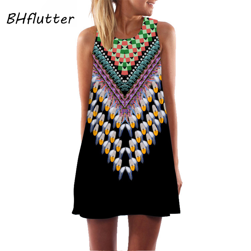 BHflutter Women Dress Plus Size 2019 Fashion Sleeveless Casual Print Summer Dresses Mini Vintage Black Chiffon Dress Sukienka