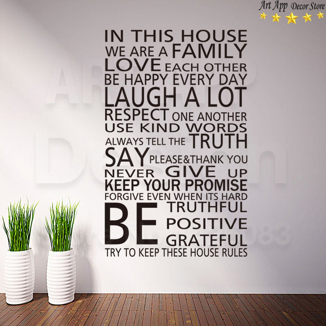 Good Art New Design Home Decor Vinyl English House Rules Words Wall Decals  Removable Room Decoration Family