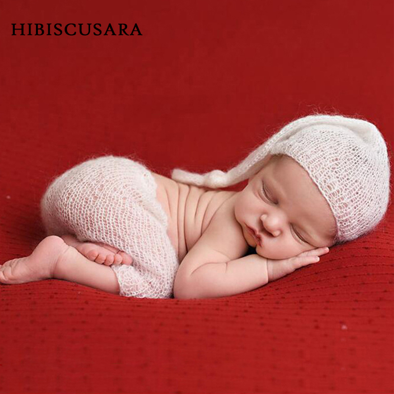 Noworodka zdjęcie dziecka odzież miękkie moherowe niemowlę fotografia rekwizyty kostiumy czapka/kapelusz + spodnie 2 sztuk zestaw Bebe chłopiec dziewczyna dzianiny stroje