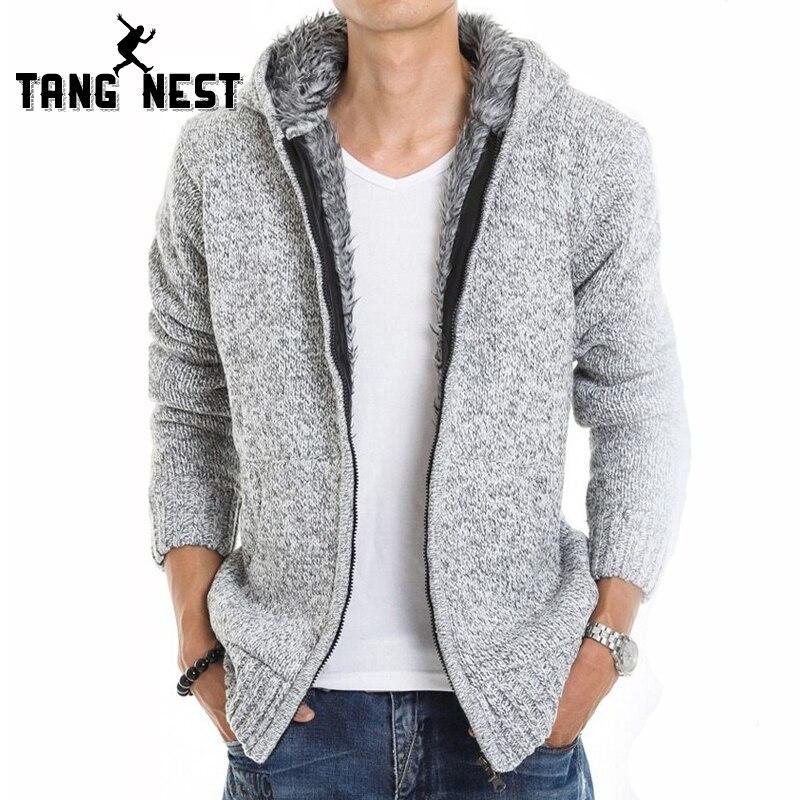 TANGNEST 2017 Fur Inside Thick Autumn & Winter Warm Jackets Hoodies Hodded Men