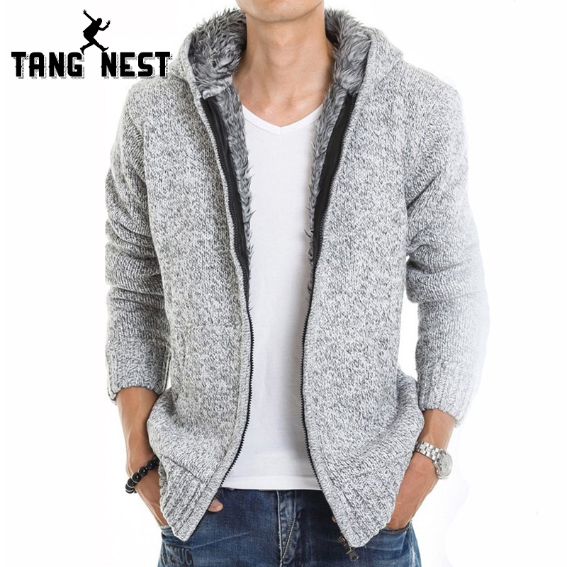 TANGNEST 2018 Fur Inside Thick Autumn Winter Warm Jackets Hoodies Hodded Men s Casual 5 Color