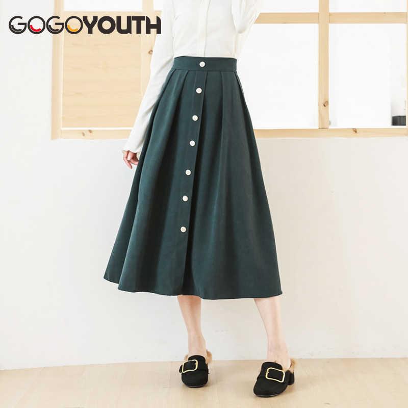 dbb6863ad Gogoyouth Falda larga de verano para mujer 2019 nuevo algodón coreano  elegante falda de cintura alta moda femenina Midi A-line Sun Shcool falda