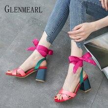Gladiator Sandals Woman Summer Shoes High Heels Silk Butterfly-knot Women Wedding Peep Toes Designe Luxury Sandalia Mujer