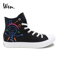 Wen Original Design Black Shoes Hand Painted Cartoon Music Guitar Smiling Face High Top Men Canvas Sneakers Women Athletic Shoes